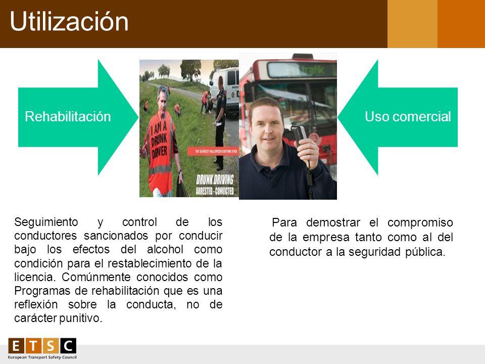 UtilizaciónRehabilitación. Uso comercial. Para demostrar el compromiso de la empresa tanto como al del conductor a la seguridad pública.