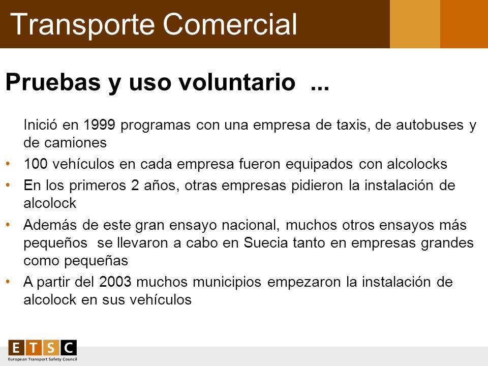 Transporte Comercial Pruebas y uso voluntario ... Inició en 1999 programas con una empresa de taxis, de autobuses y de camiones.