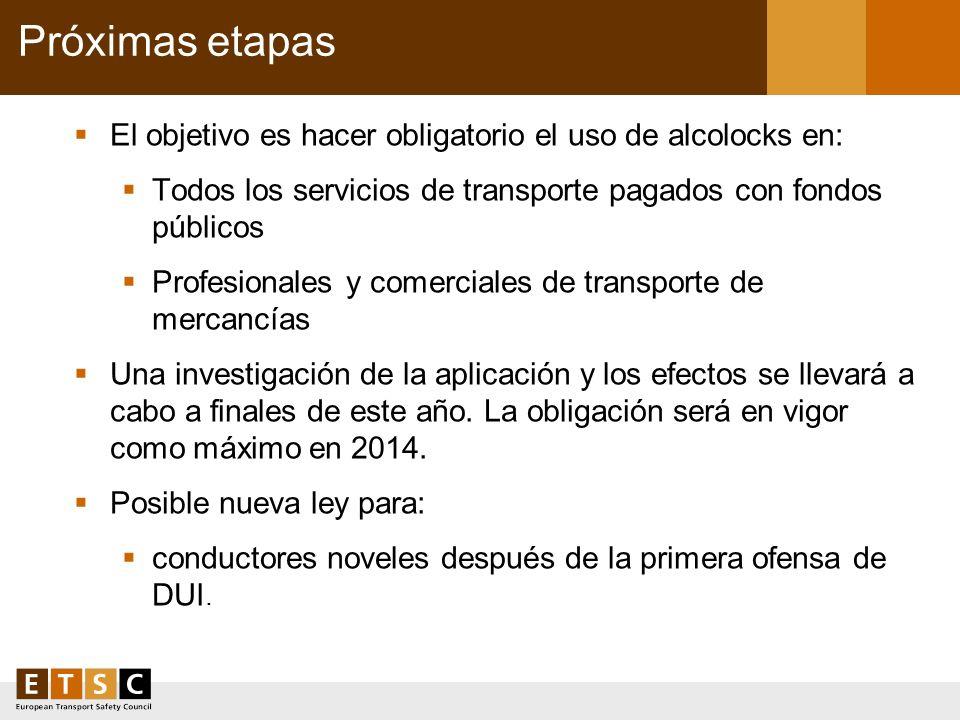 Próximas etapas El objetivo es hacer obligatorio el uso de alcolocks en: Todos los servicios de transporte pagados con fondos públicos.