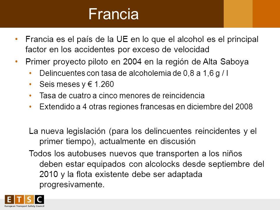 Francia Francia es el país de la UE en lo que el alcohol es el principal factor en los accidentes por exceso de velocidad.