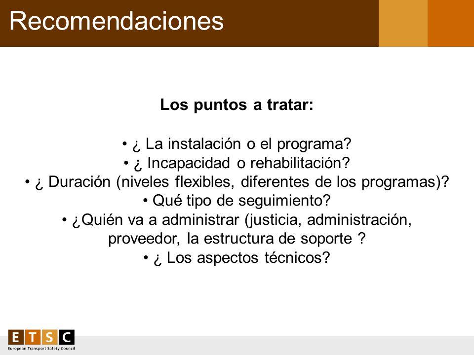 Recomendaciones Los puntos a tratar: • ¿ La instalación o el programa