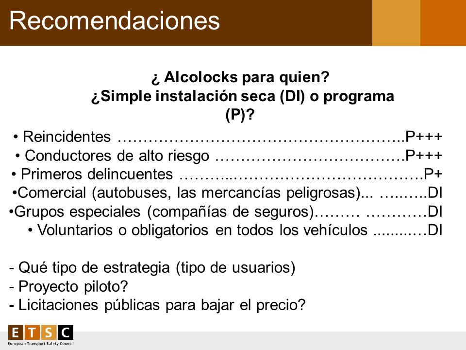 ¿ Alcolocks para quien ¿Simple instalación seca (DI) o programa (P)