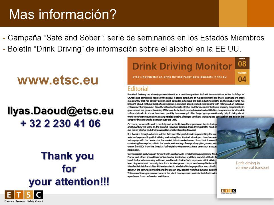 Mas información www.etsc.eu Ilyas.Daoud@etsc.eu + 32 2 230 41 06