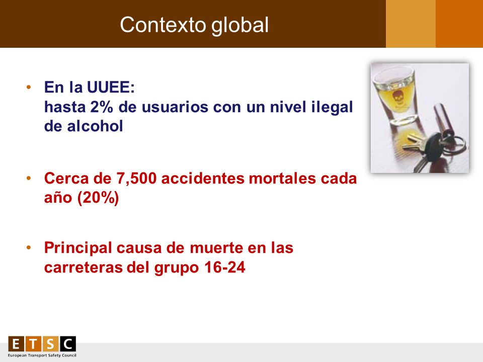 Contexto global En la UUEE: hasta 2% de usuarios con un nivel ilegal de alcohol. Cerca de 7,500 accidentes mortales cada año (20%)