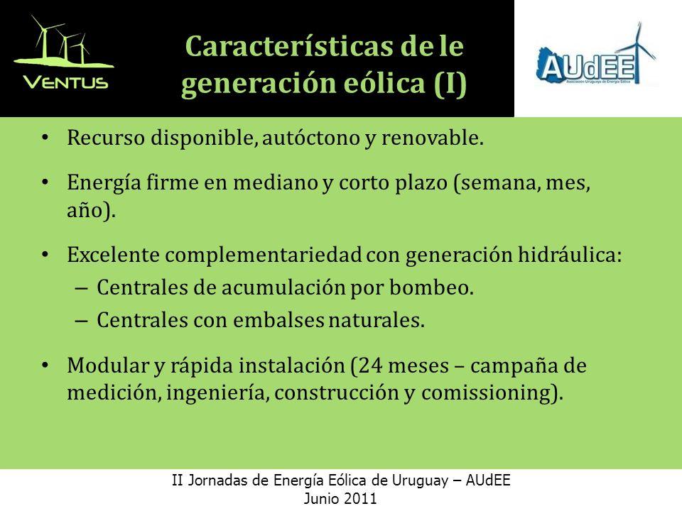 Características de le generación eólica (I)