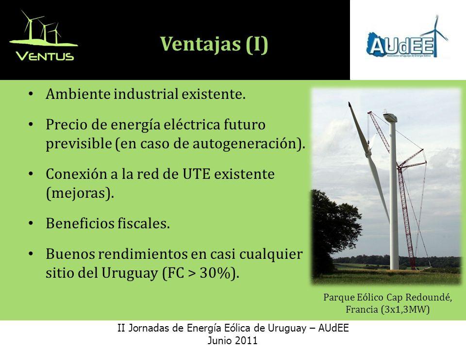 Ventajas (I) Ambiente industrial existente.