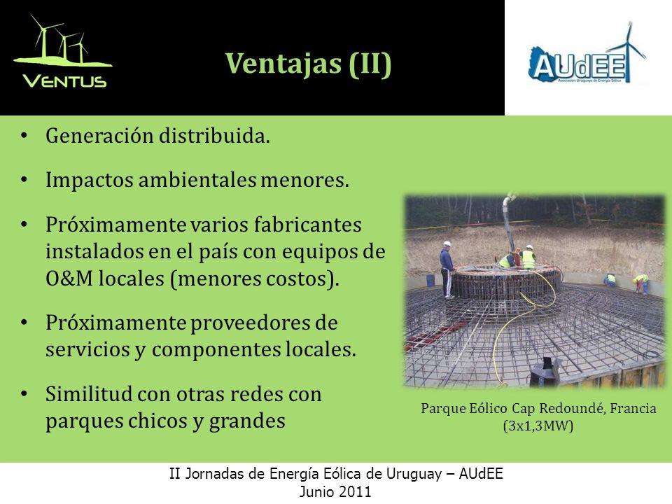Ventajas (II) Generación distribuida. Impactos ambientales menores.