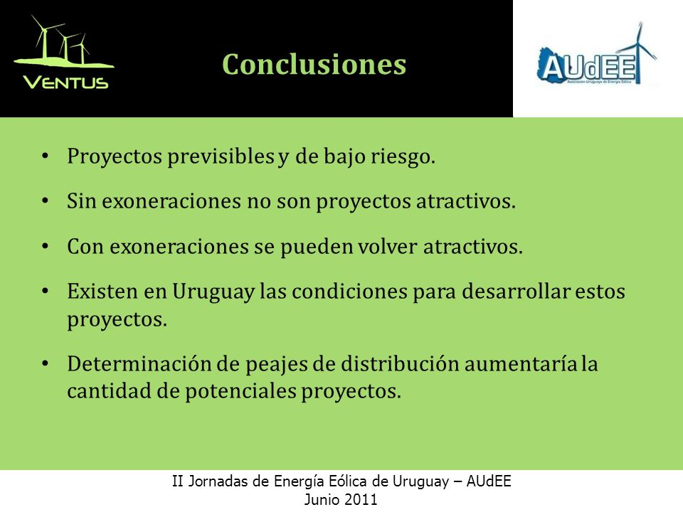 II Jornadas de Energía Eólica de Uruguay – AUdEE
