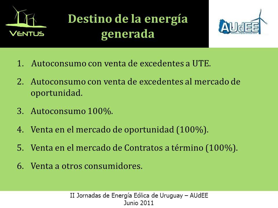 Destino de la energía generada