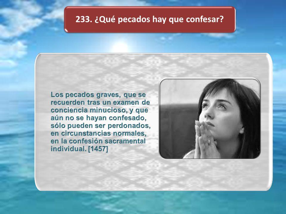233. ¿Qué pecados hay que confesar
