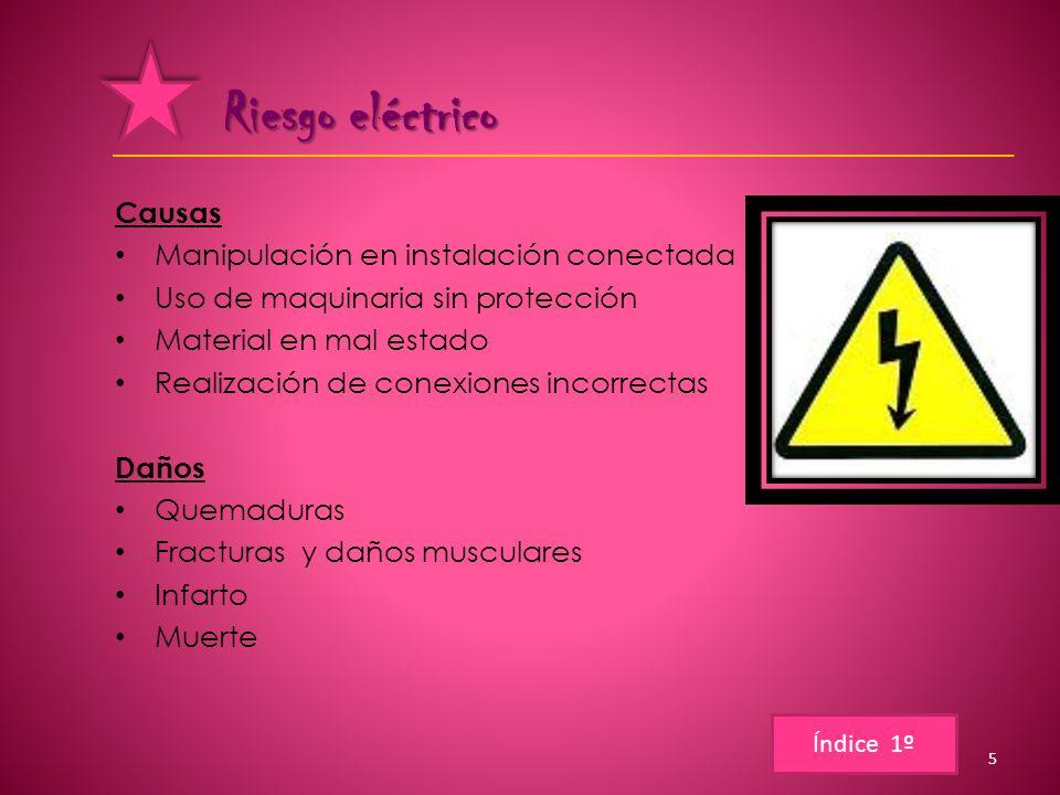 Riesgo eléctrico Causas Manipulación en instalación conectada