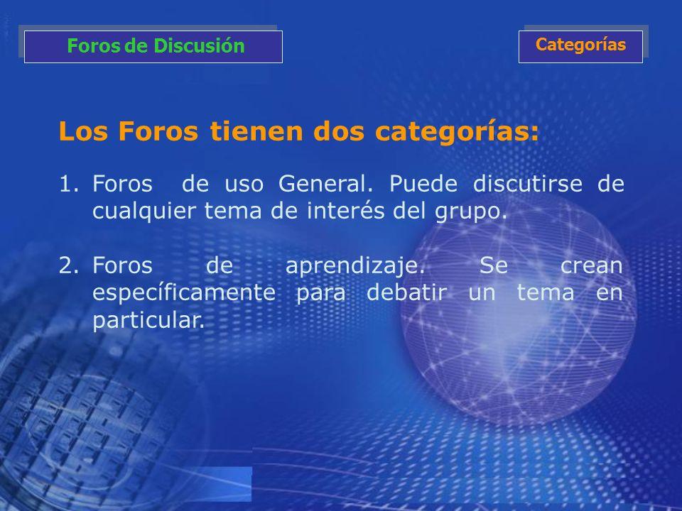 Los Foros tienen dos categorías: