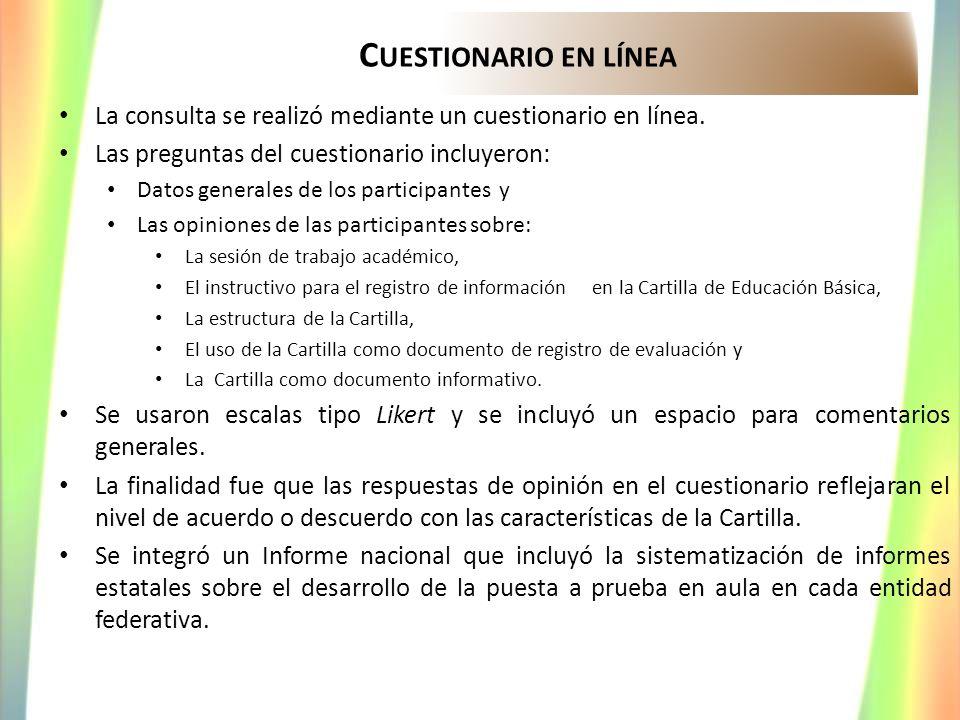 Cuestionario en línea La consulta se realizó mediante un cuestionario en línea. Las preguntas del cuestionario incluyeron: