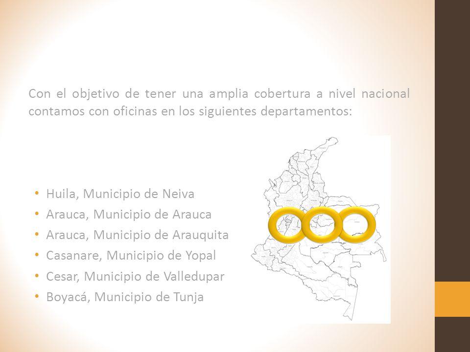 Con el objetivo de tener una amplia cobertura a nivel nacional contamos con oficinas en los siguientes departamentos:
