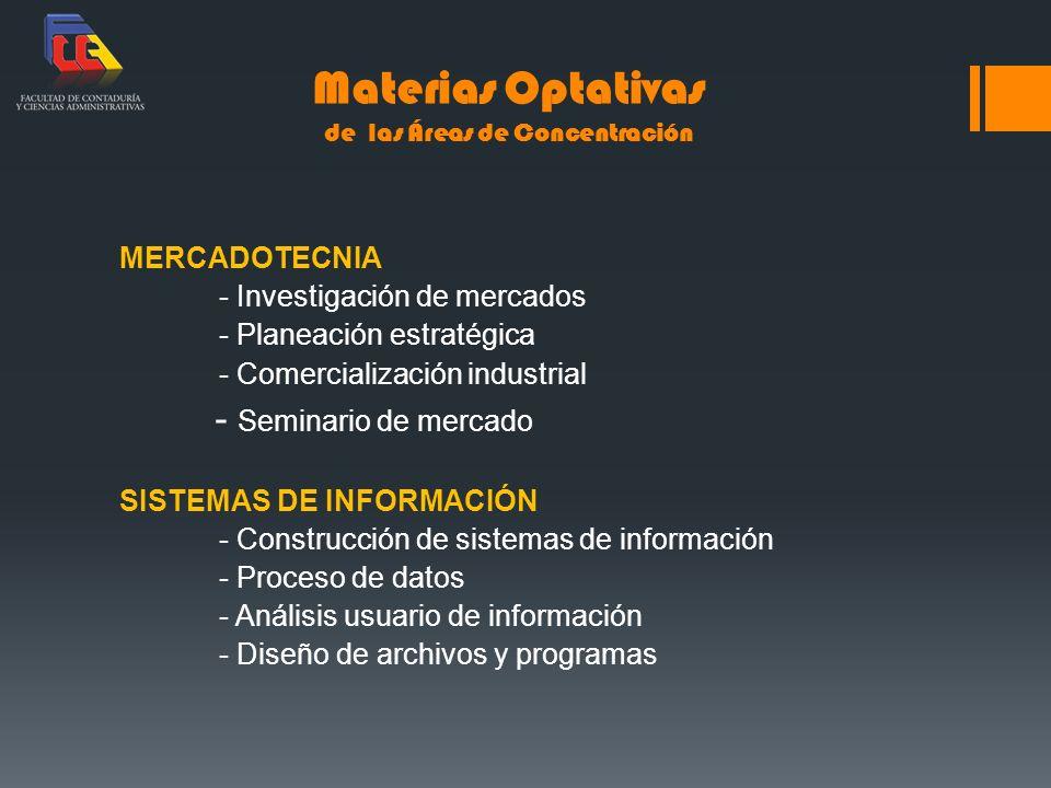 Materias Optativas de las Áreas de Concentración