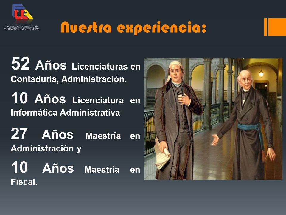 52 Años Licenciaturas en Contaduría, Administración.