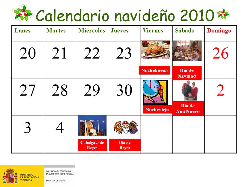 Calendario navideño 2010 Lunes. Martes. Miércoles. Jueves. Viernes. Sábado. Domingo. 20. 21.