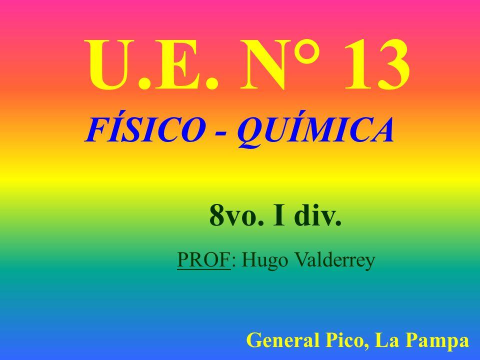 U.E. N° 13 FÍSICO - QUÍMICA 8vo. I div. PROF: Hugo Valderrey
