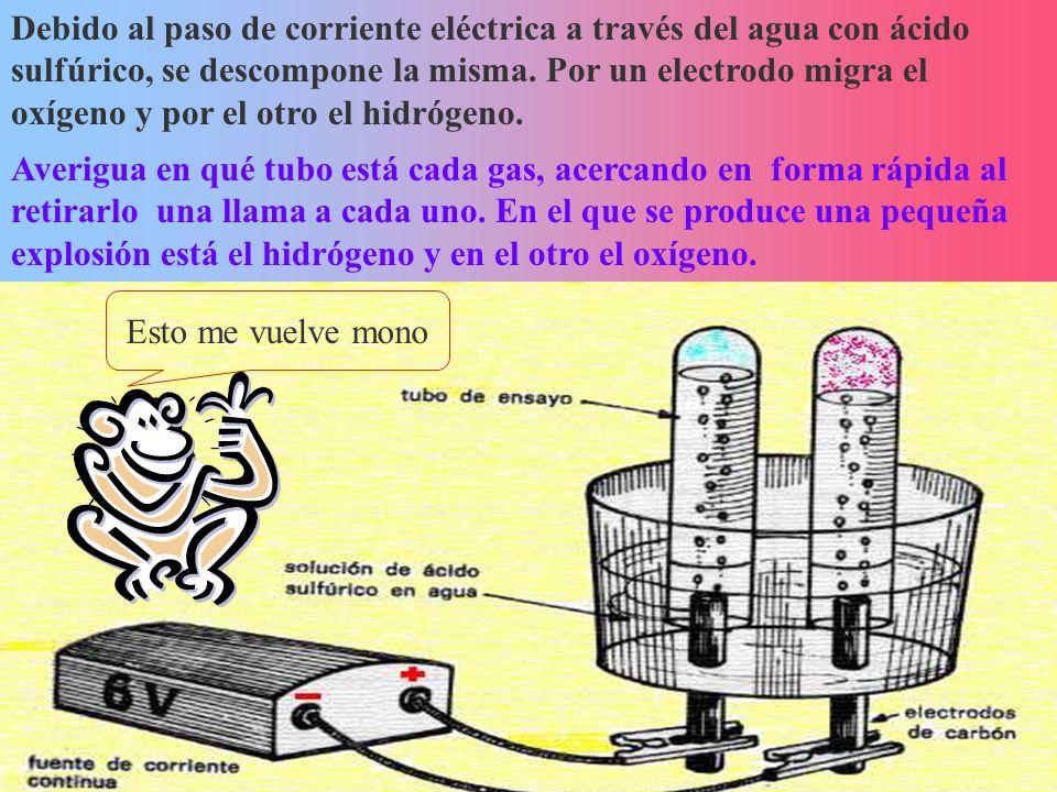 Debido al paso de corriente eléctrica a través del agua con ácido sulfúrico, se descompone la misma. Por un electrodo migra el oxígeno y por el otro el hidrógeno.