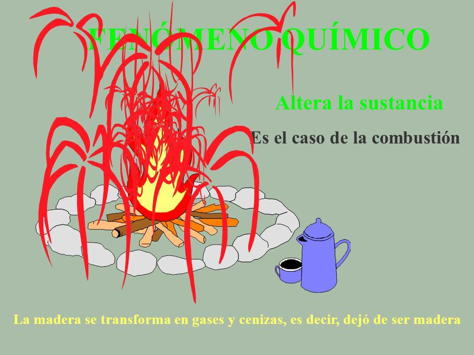 FENÓMENO QUÍMICO Altera la sustancia Es el caso de la combustión