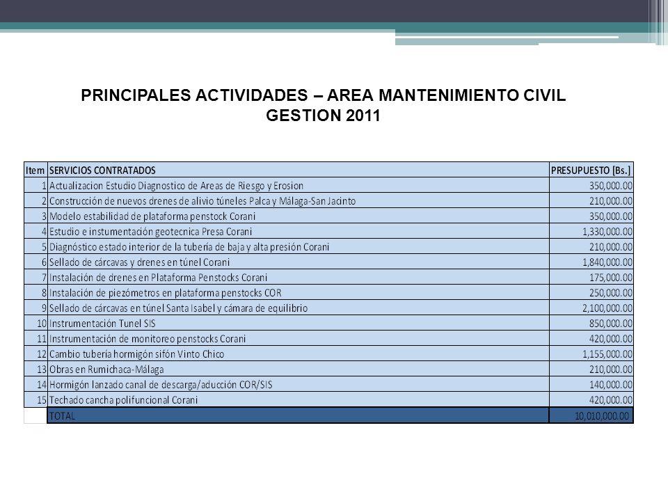 PRINCIPALES ACTIVIDADES – AREA MANTENIMIENTO CIVIL