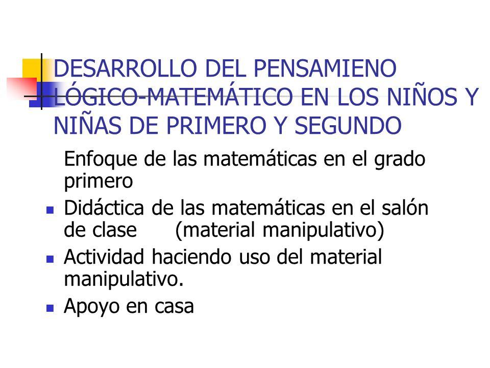 DESARROLLO DEL PENSAMIENO LÓGICO-MATEMÁTICO EN LOS NIÑOS Y NIÑAS DE PRIMERO Y SEGUNDO