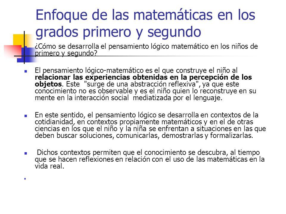 Enfoque de las matemáticas en los grados primero y segundo