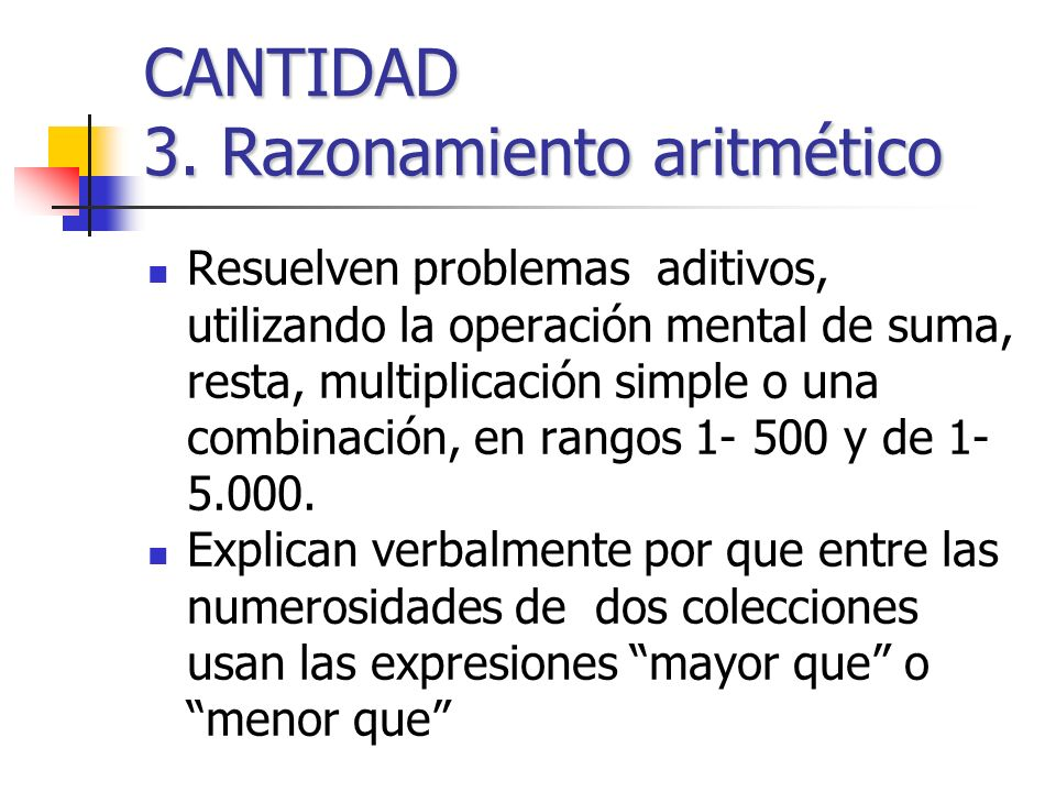 CANTIDAD 3. Razonamiento aritmético