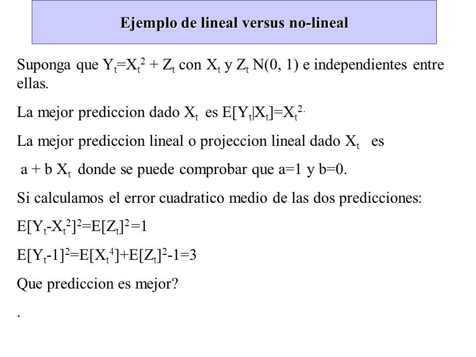 Ejemplo de lineal versus no-lineal