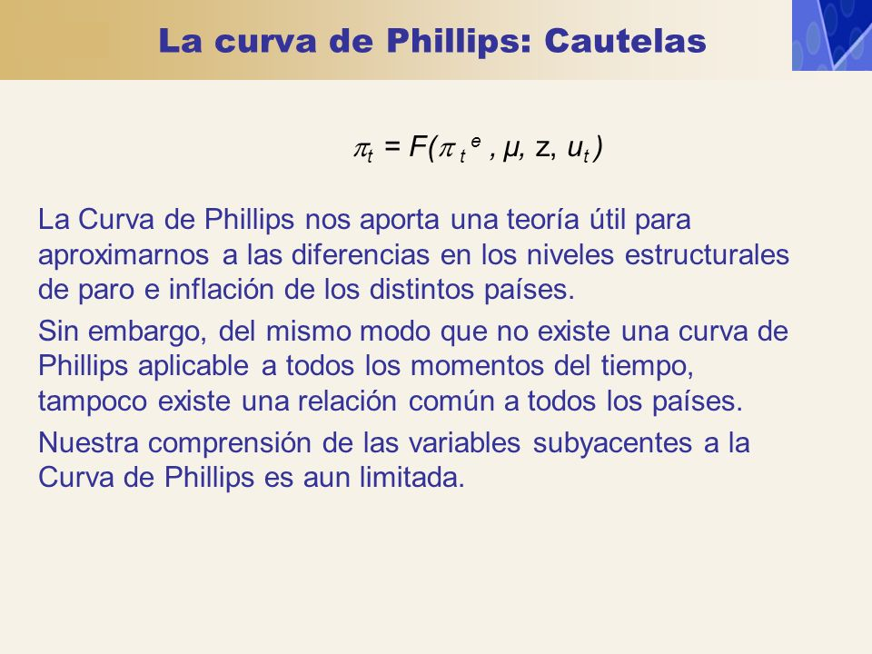 La curva de Phillips: Cautelas