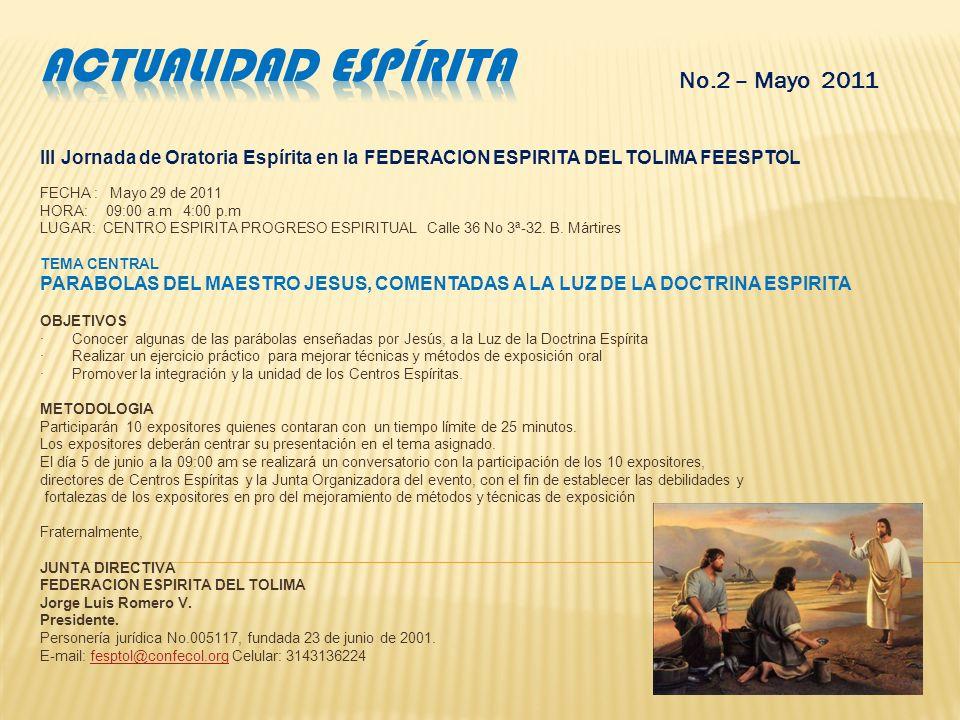 Actualidad espírita No.2 – Mayo 2011
