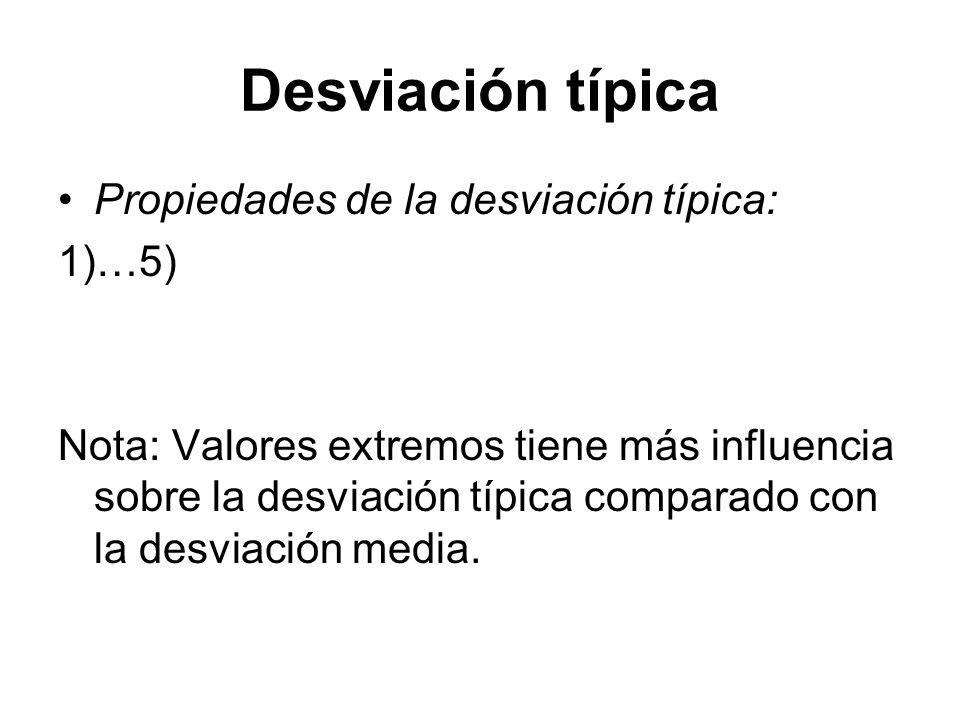 Desviación típica Propiedades de la desviación típica: 1)…5)