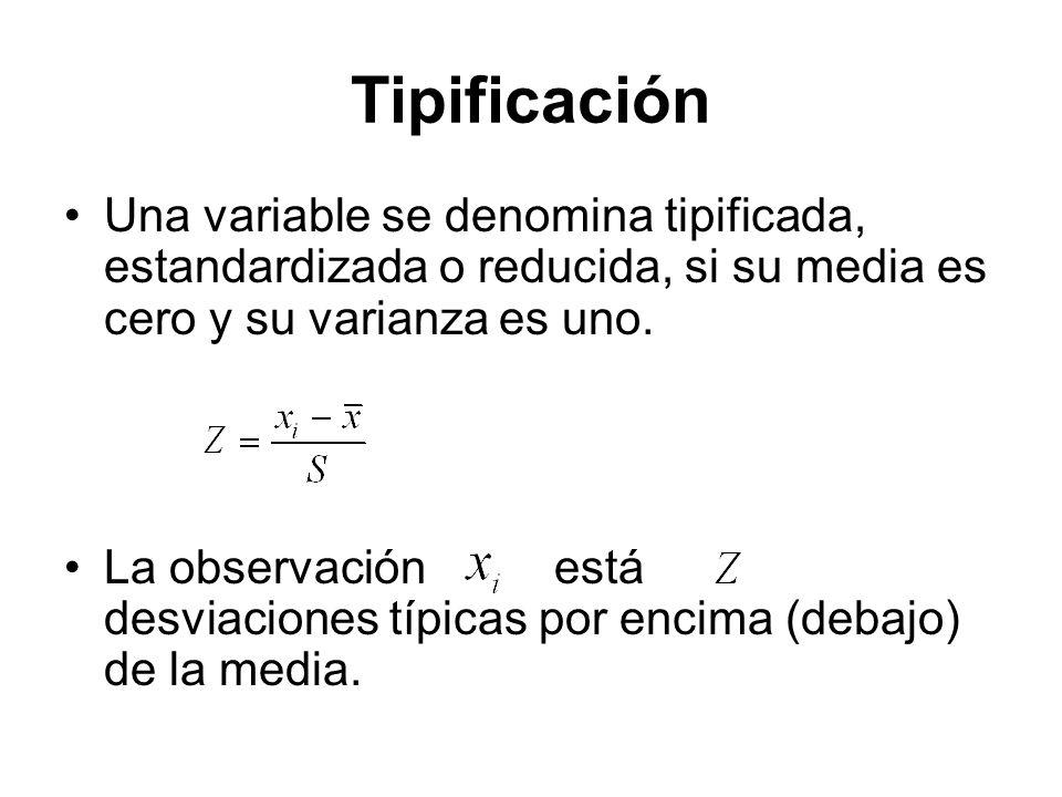 Tipificación Una variable se denomina tipificada, estandardizada o reducida, si su media es cero y su varianza es uno.