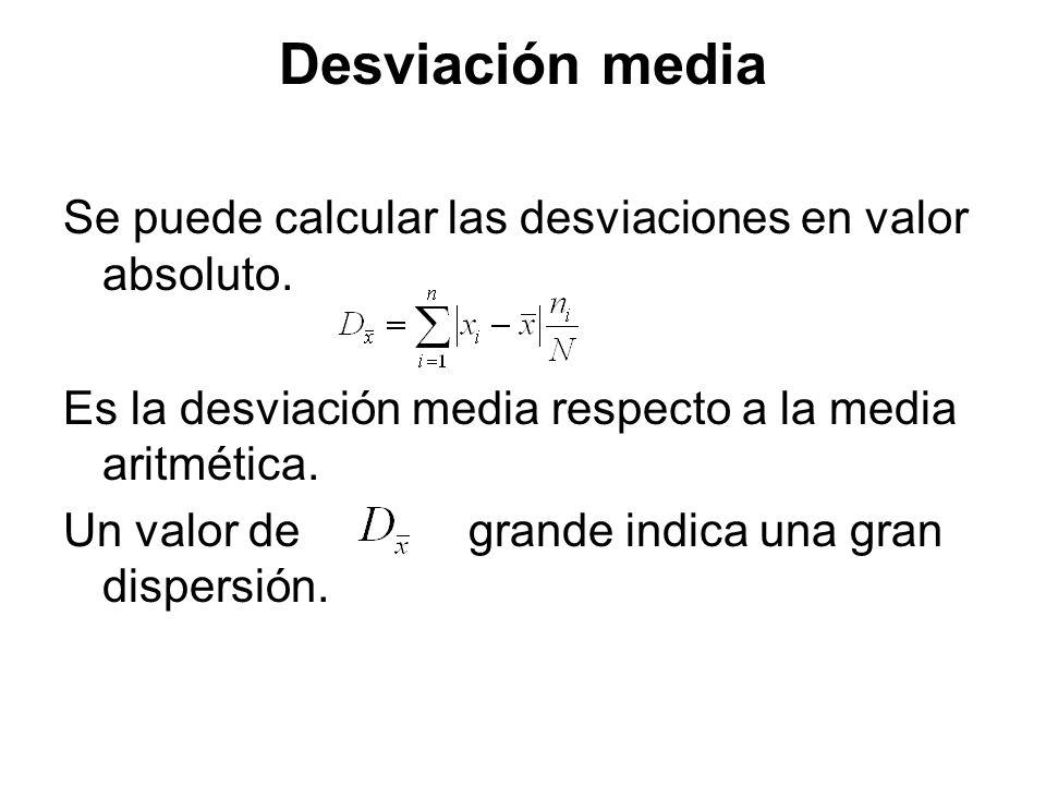Desviación media Se puede calcular las desviaciones en valor absoluto.