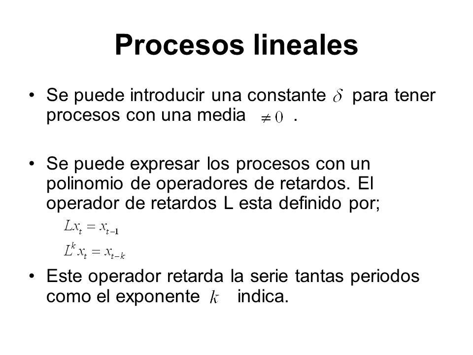 Procesos lineales Se puede introducir una constante para tener procesos con una media .