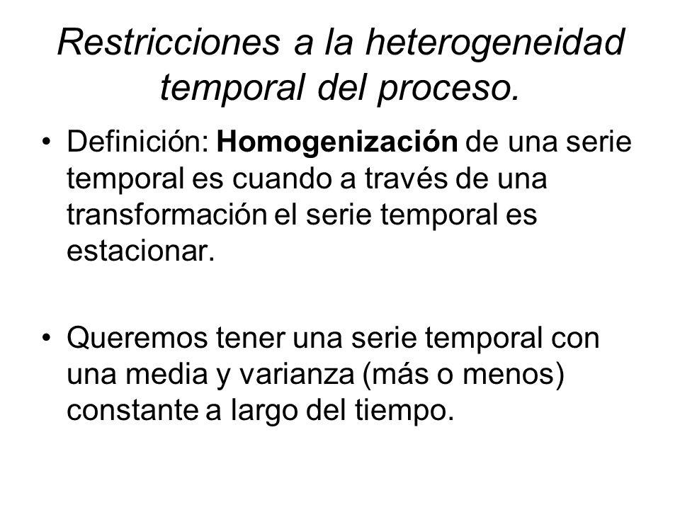 Restricciones a la heterogeneidad temporal del proceso.