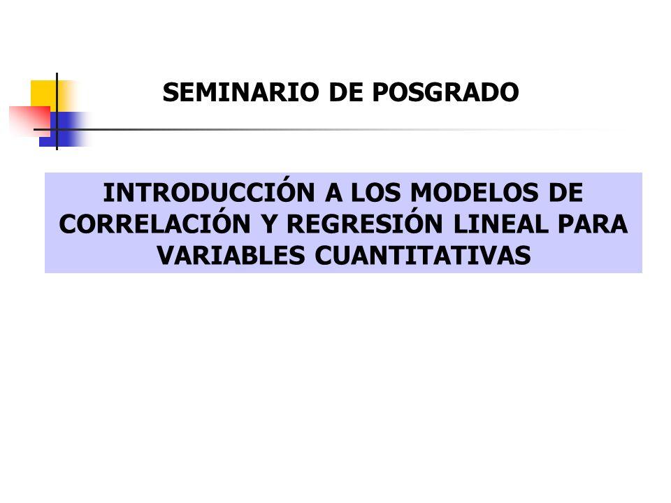 SEMINARIO DE POSGRADO INTRODUCCIÓN A LOS MODELOS DE CORRELACIÓN Y REGRESIÓN LINEAL PARA VARIABLES CUANTITATIVAS.