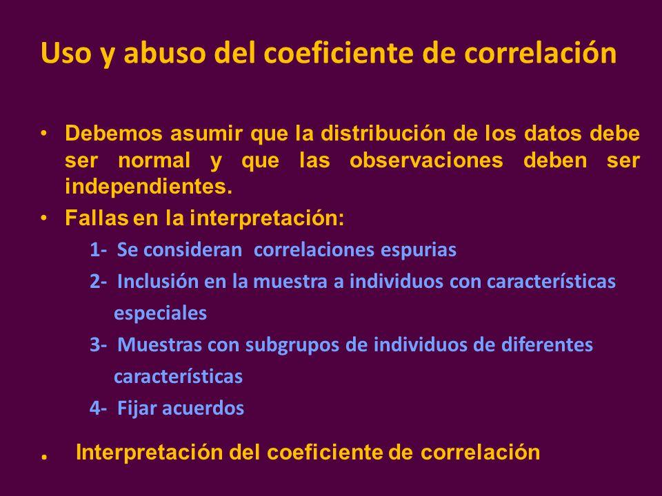 Uso y abuso del coeficiente de correlación