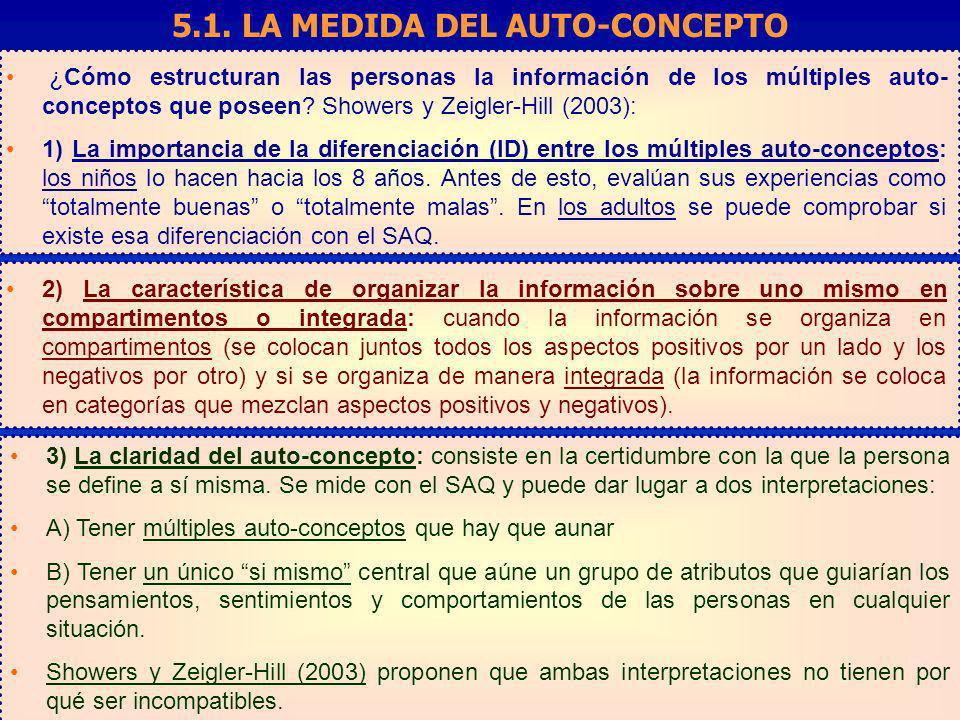 5.1. LA MEDIDA DEL AUTO-CONCEPTO