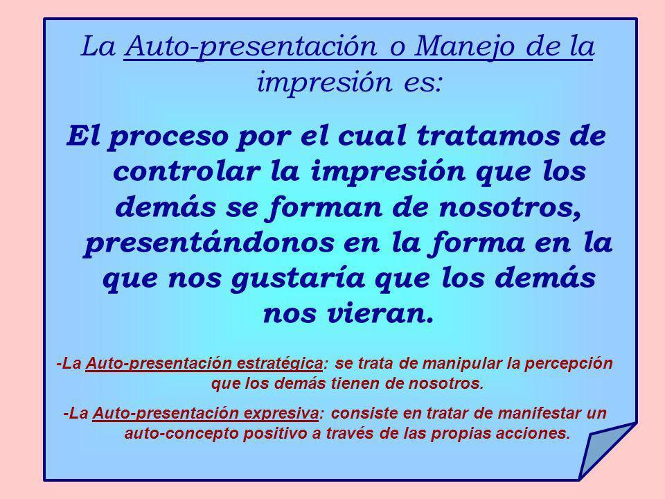 La Auto-presentación o Manejo de la impresión es: