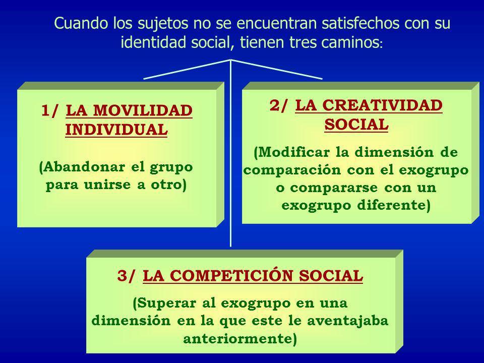 2/ LA CREATIVIDAD SOCIAL 1/ LA MOVILIDAD INDIVIDUAL