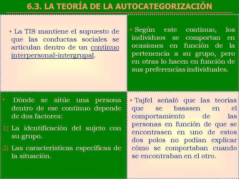 6.3. LA TEORÍA DE LA AUTOCATEGORIZACIÓN