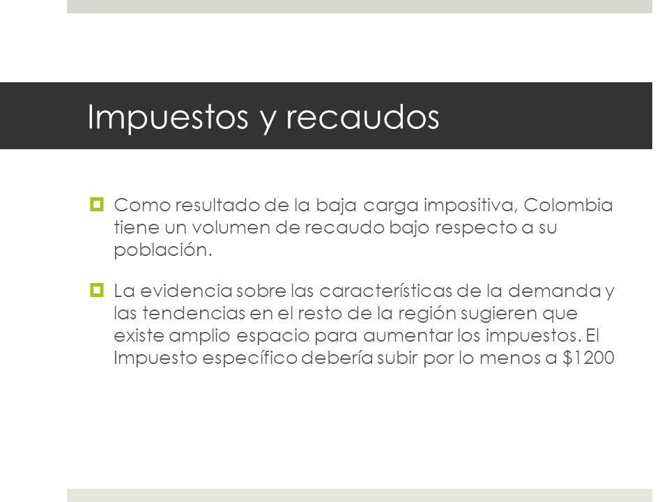 Impuestos y recaudos Como resultado de la baja carga impositiva, Colombia tiene un volumen de recaudo bajo respecto a su población.