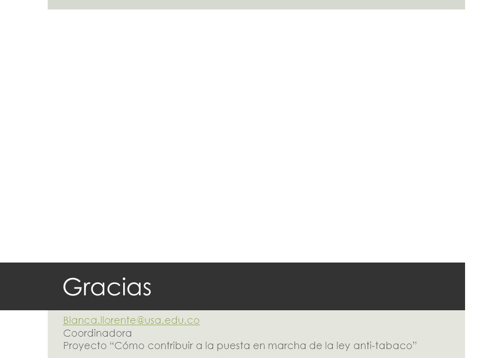 Gracias Blanca.llorente@usa.edu.co Coordinadora