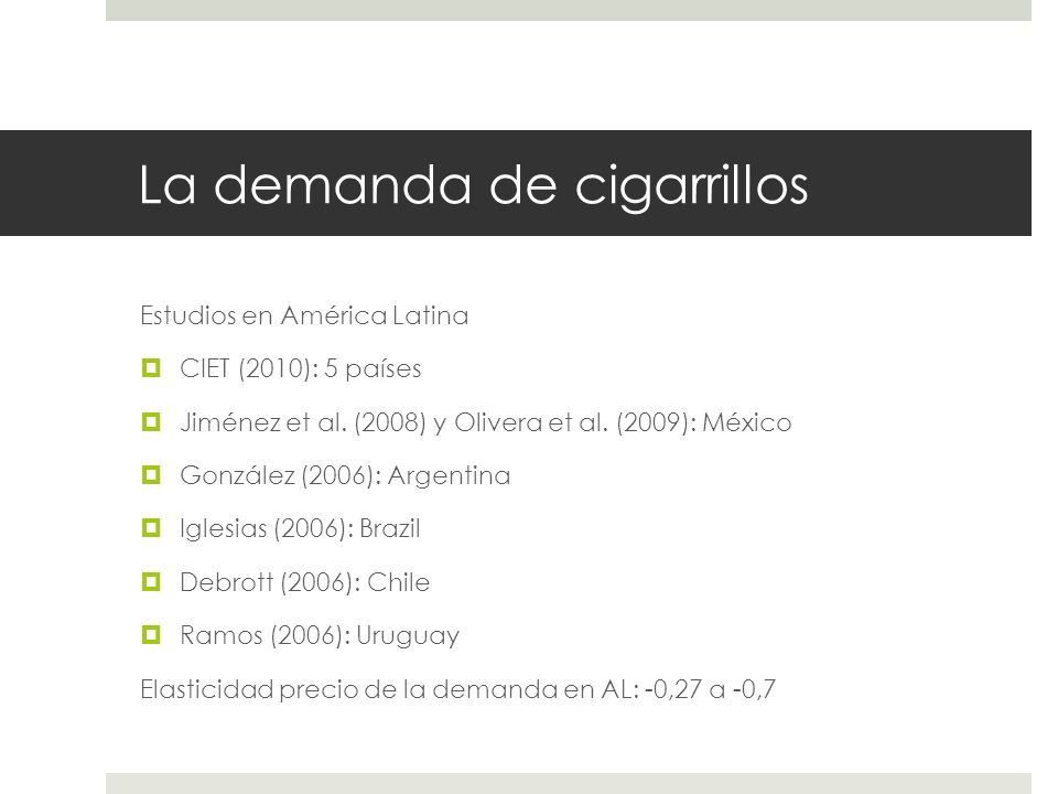 La demanda de cigarrillos