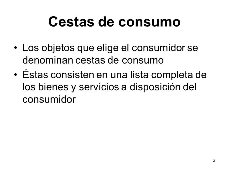 Cestas de consumo Los objetos que elige el consumidor se denominan cestas de consumo.