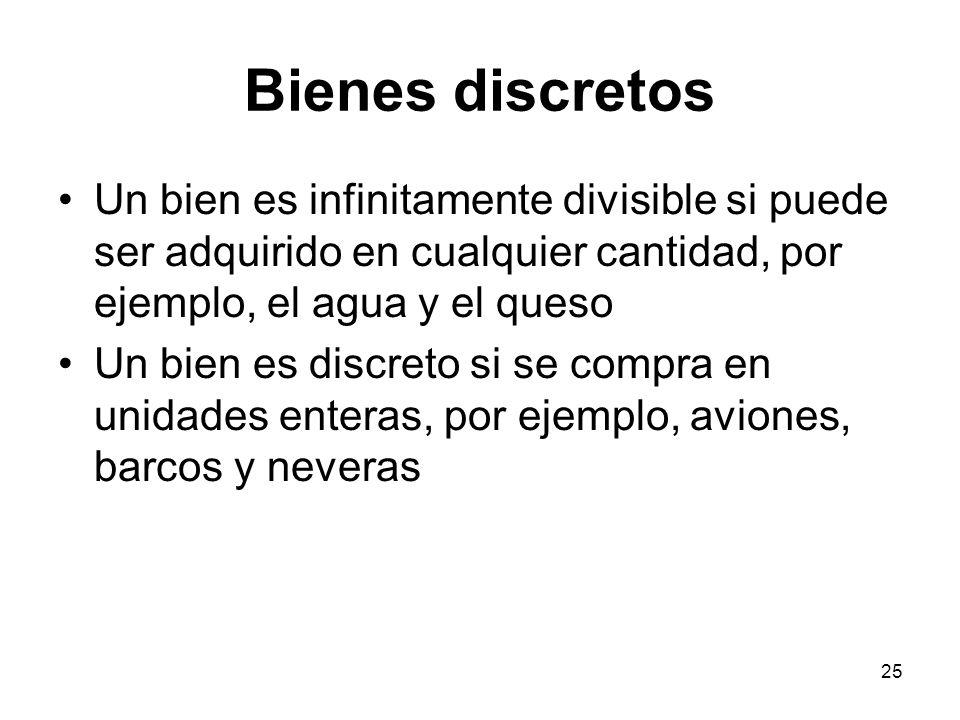 Bienes discretos Un bien es infinitamente divisible si puede ser adquirido en cualquier cantidad, por ejemplo, el agua y el queso.