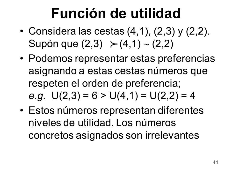 Función de utilidad Considera las cestas (4,1), (2,3) y (2,2). Supón que (2,3) (4,1) ~ (2,2)