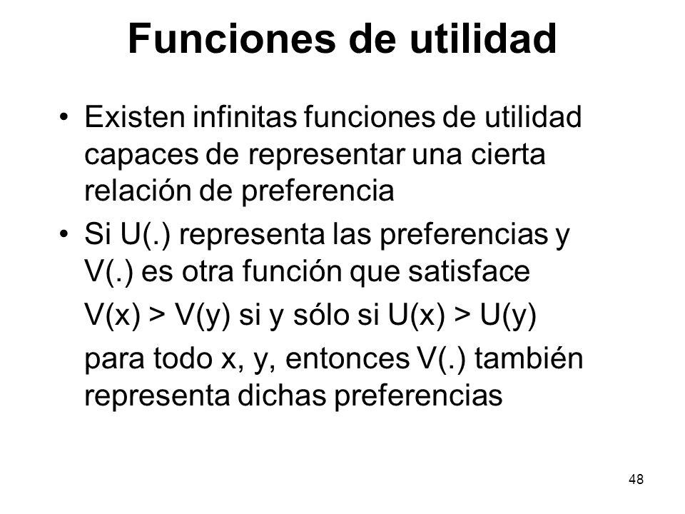 Funciones de utilidad Existen infinitas funciones de utilidad capaces de representar una cierta relación de preferencia.
