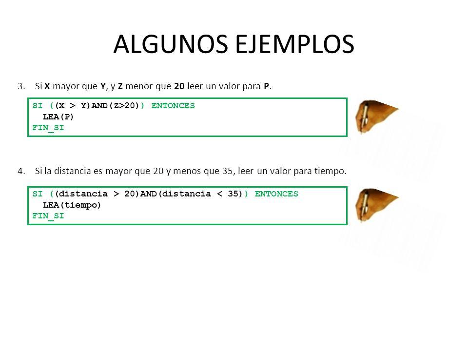 ALGUNOS EJEMPLOS Si X mayor que Y, y Z menor que 20 leer un valor para P. SI ((X > Y)AND(Z>20)) ENTONCES.
